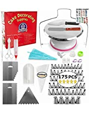 Metal Turntable Cake Decorating Set - (175 PCS Cake Decorating KIT) with 55 Numbered Icing Tips, Bonus Tips Chart, Aluminum Stainless Steel Rotating Cake Stand and More!