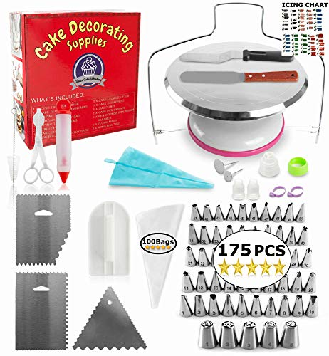 Metal Turntable Cake Decorating Set - (175 PCS CAKE DECORATING KIT) With 55 Numbered Icing Tips, BONUS Tips Chart, Aluminum Stainless Steel Rotating Cake Stand and -
