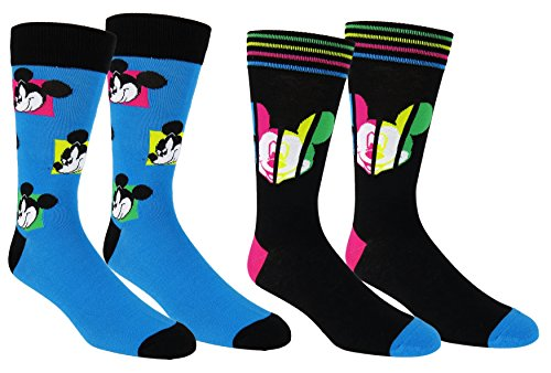Disney Mickey Mouse Casual Crew Socks 2 Pair Neon Blue/Black - Mickey Black Socks