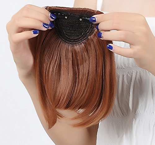 auburn clip in bangs - 2
