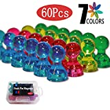 Push Pin Magnets Office Magnets For Whiteboard Magnets For Refrigerator,60 Pack 7 Assorted Color Made By Acrylic
