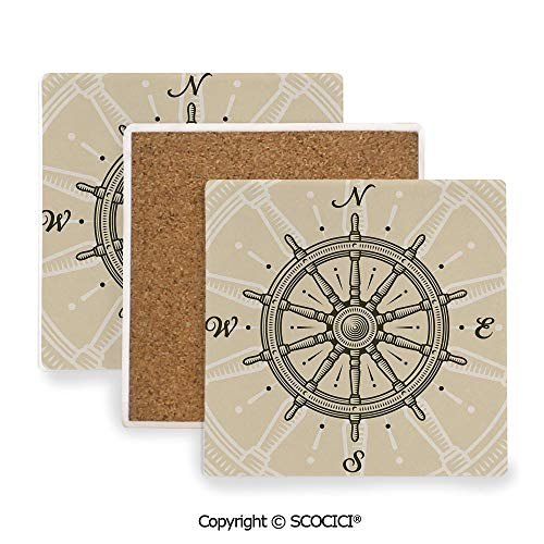 Ceramic Coasters with Cork Base, Prevent Furniture from Dirty and Scratched, Suitable for Kinds of Mugs and Cups,Ships Wheel Decor,Retro Ship Wheel Antique Sailboat,3.9