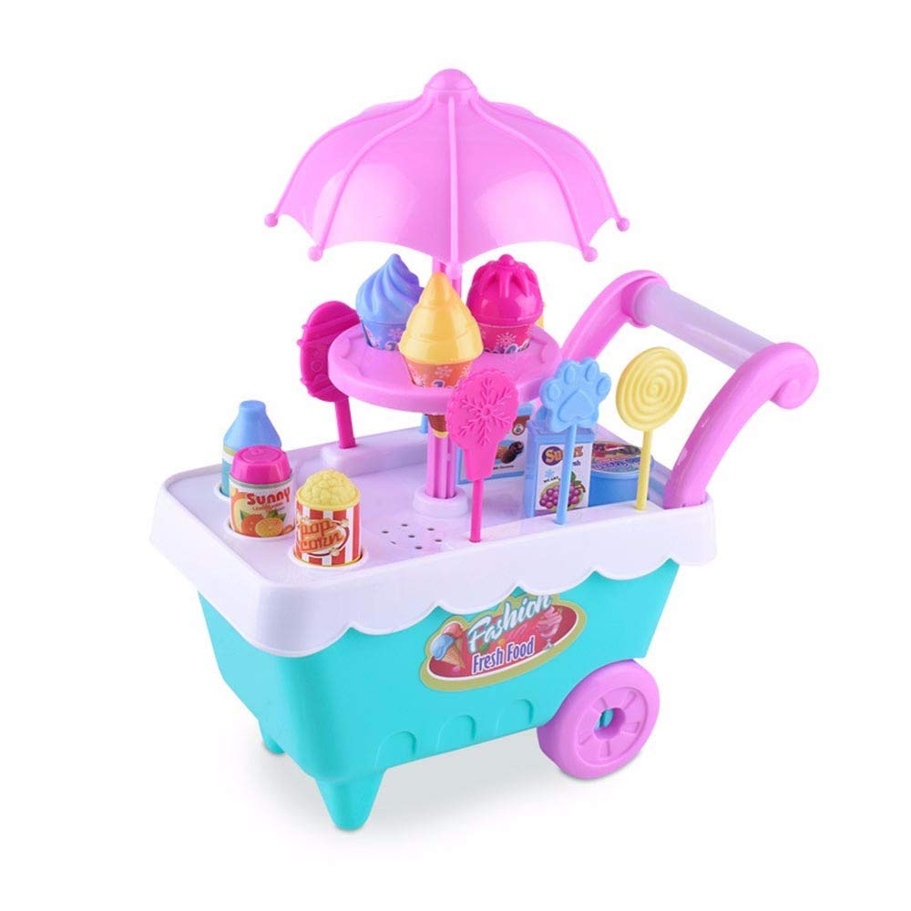 Liping Children Gift Ice Cream Cart Play Set Kids Pretend Play Toy Food Toys Education Gift Toys (B)