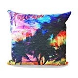 Hawaii Hangover Cotton Linen Hawaiian Tropical Print Pillow Case Cover in Sunset