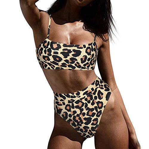 MOOSLOVER Women Lace Up Crop Top High Cut Cheeky Bottom Bikini Set Brazilian 2 Piece Swimsuits(S,Leopard)