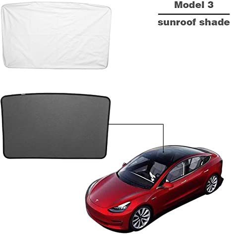 Set of 2 DEF Model 3 Sunshade with Glass Roof Mesh Sunshade and Overhead Roof Sunshade Auto Sunshade for Tesla Model 3 Roof /& Rear