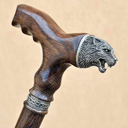Wolf - Carved Derby Men's Cane