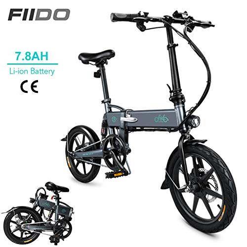DAPHOME FIIDO D2 Ebike,250W 7.8Ah Folding Electric Bicycle Foldable Electric Bike with Front LED Light for Adult (Dark Gray)