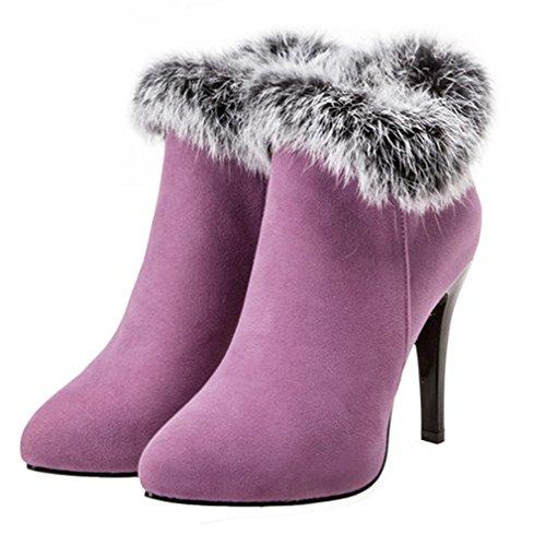 YE Damen Spitze High Heels Plateau Stiefeletten Stiletto Warm Gefüttert Ankle Boots mit Fell Reißverschluss 11cm Absatz Lila