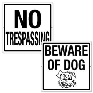 "18""x 18""–aluminio–Señal de perro/No Trespassing–Set de 2"