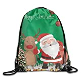 Merry Christmas Santa Claus Deer Pattern Drawstring Bags Portable Backpack Yoga Runner Daypack
