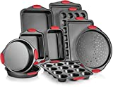 Perlli 10-Piece Nonstick Carbon Steel Bakeware Set With Red Silicone...