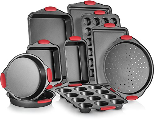Perlli 10-Piece Nonstick Carbon Steel Bakeware Set With Red Silicone Handles | |Metal, Reusable, Quality Kitchenware For Cooking & Baking Cake Loaf, Muffins &More | Non Stick Kitchen Supplies (Supplies Bakeware)