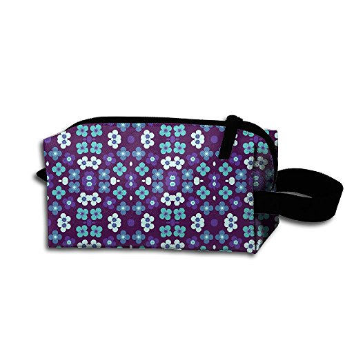 Hfoefgk Portable Travel Cosmetic Organizer Clutch Pouch Bag With Zipper Closure For Bright Blue Garden In The Darkness By Cheerful Mad Flower Print
