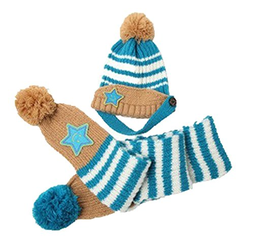 VISKEY Baby Boy Girl Winter Warm Blue Stripes Star Wool Hat with Scarf Set Blue Stripe Wool Hat