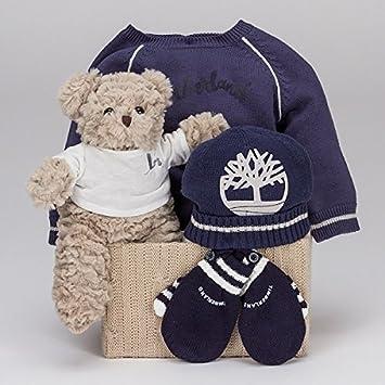 08a08146cabce Coffret cadeau bébé Timberland Essentiel Blue-BebeDeParis- panier cadeau  bébé avec vêtements marque Timberland Taille 6 ...