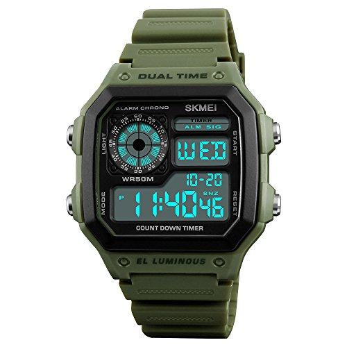 Men Women Fashion Multi-function Digital Sport Watch Countdown Alarm Luminous Waterproof Wrist Watch (Army Green)