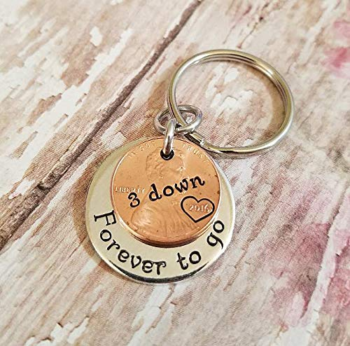 2016 Lucky Penny 3 Down and Forever To Go 3rd Year Anniversary Coin Key Chain