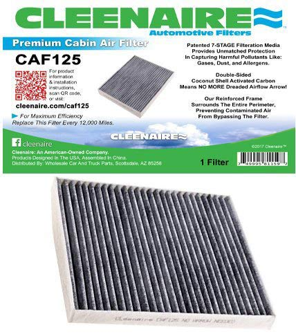 Cleenaire CAF125 The Most Advanced Protection Against Dust, Smog, Gases, Odors and Allergens, Cabin Air Filter Protection for Your Chevrolet Cobalt, HHR, G5, ION