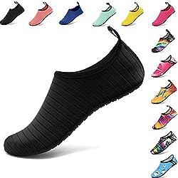 Vifuur Water Sports Shoes Barefoot Quick Dry Aqua Yoga Socks Slip On For Men Women Kids Black 40 41