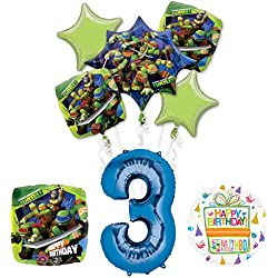 Teenage Mutant Ninja Turtles 3rd Birthday Party Supplies and TMNT Balloon Bouquet Decorations