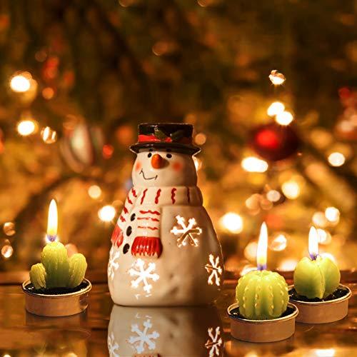 Ornerx Cute Cactus TeaLights 6 PCS Succulent Decorative Candles
