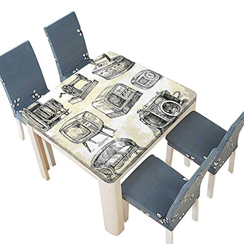 PINAFORE Table in Washable Polyeste Sketchy House Stuff Iron Radio Camera Television Retro Image Black White Charcoal Banquet Wedding Party Restaurant Tablecloth 29.5 x 29.5 INCH (Elastic Edge)