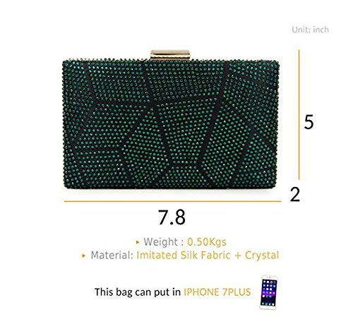 Les Clutch Sac À Main Green Bourse Strass Cocktail Soirée Pour Multicolore Embrayage Crystal Femmes f6aPgx