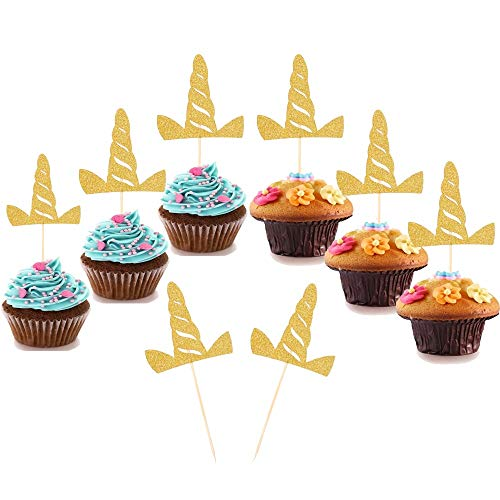 ((Set of 24)Unicorn Cupcake Toppers Cupcake Picks Glitter Gold Unicorn Horn Shape Party Cake Decorations for Baby Shower Birthday Party Favors)