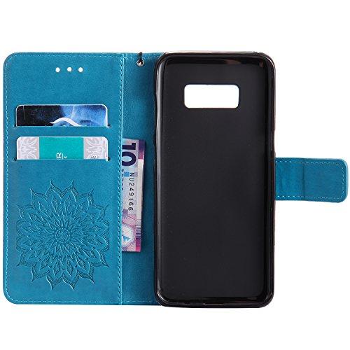 S8 Corde Galaxy pour Bleu élégant Mandala Motif Housse Cuir pour Samsung Tournesol Portefeuille de PU Galaxy Fleur Etui S8 Rabat Moiky Gaufrage Samsung Coque Poche à Protection Marron Étui Clapet Classique qOEwYXxXA