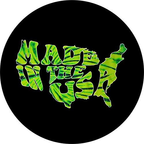 - TIRE COVER CENTRAL Word Art Made in The USA Green Tie Dye Tire Cover for Centered Mounted Back up Camera Openings (285/70r17)