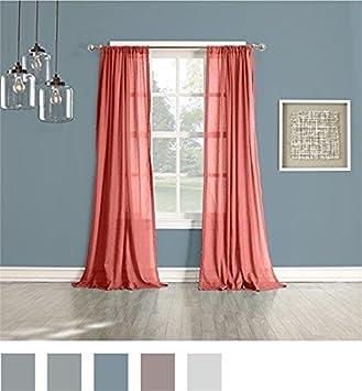 Perfect 918 Cory Open Weave Cotton Sheer Curtain Panel, 50u0026quot; X 84u0026quot;
