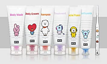 BTS BT21 Cosmetic Travel Kits Pouch Body Wash Body Cream Shampoo Treatment Facial Foam Toothpaste and