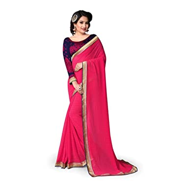 aef9295fb6d7a Amazon.com  Indianbeauty Solid Bollywood Georgette Saree (Pink)  Clothing