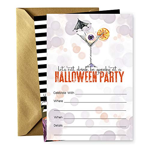 Eat Drink Be Spooky Halloween Party Invitations and Envelopes - 15 Pack ()