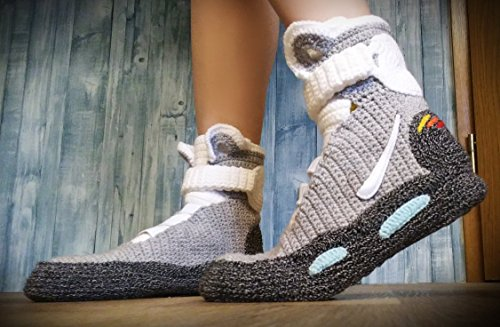 the latest e2de2 15fbc Crochet Knitted Home Men s Women s Custom Slippers, Back to the Future  Knitted Slippers, Cosplay Shoes, Cosplay Boots Back To The Future Shoes Air  Mag Style ...