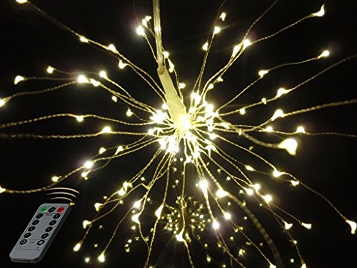 BUSOH Firework Lights, Hanging Starburst Copper Wire Twinkle Light Chandelier Battery Operated Waterproof Remote Control Decorative Bouquet Fairy String Lights for Outdoor/Patio/Festival/Christmas -