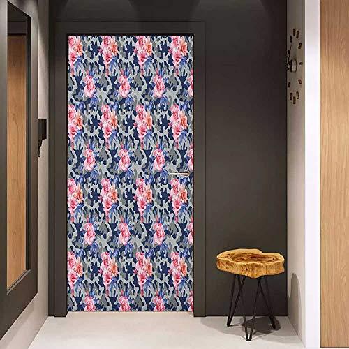 (Onefzc Door Wallpaper Murals Camo Victorian Theme Pink Retro Design Roses Urban Fashion Nature Feminine WallStickers W38.5 x H79 Pink Violet Blue Sage Green)