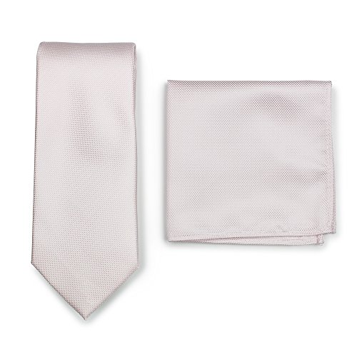 Finish Blush (Bows-N-Ties Men's Solid Necktie and Pocket Square Set Matte Microtexture Finish (Blush))