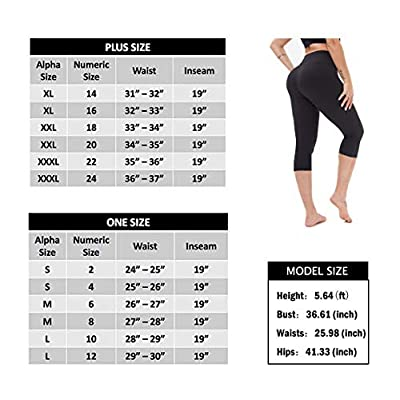 TNNZEET High Waisted Capri Leggings for Women - Soft Tummy Control Slim Exercise Pants for Yoga Workout - Regular & Plus Size at Women's Clothing store