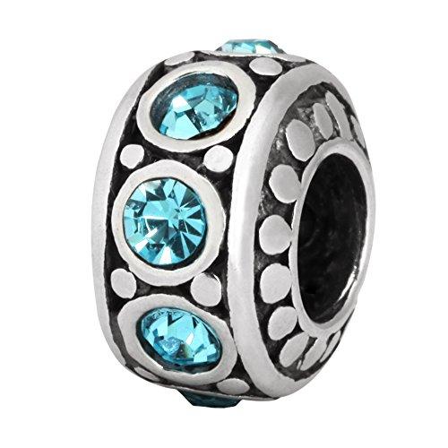 Sterling Silver Charm March Birthstone Aquamarine Blue Swarovski Crystal for European Charm Bracelets #EC212