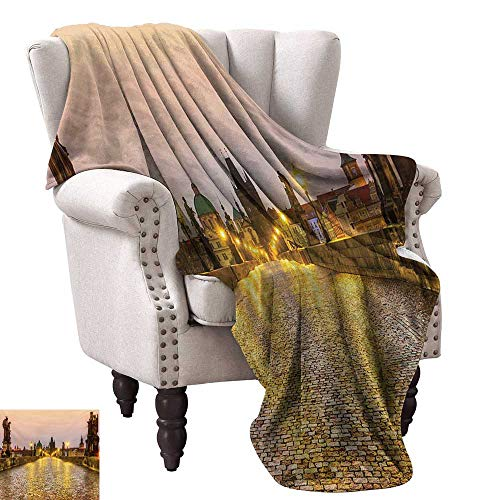 WinfreyDecor Landscape Home Throw Blanket Charles Bridge Old Town Prague Czech Republic with Classic Medieval Buildings All Season Light Weight Living Room 50
