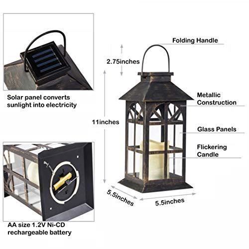 Solar Lantern Outdoor Classic Decor Bronze Antique Metal
