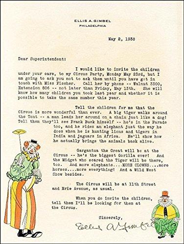 Ellis A. Gimbel Typed Letter Signed 05/02/1938