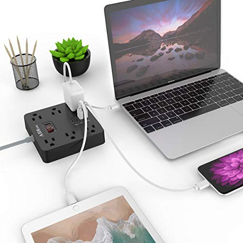 Power Strip, AHRISE Extension Cord with 6 AC Outlets and 4 USB Charging Ports(5V/3.4A,17W) for Smartphone Tablets Home, Office, Hotel, Cruise Ship, 5 Feet Long Cord, ETL Listed -Black