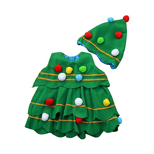 Clearance sale Toddler Kids Baby Girls 2 PCS Christmas Tree Costume Dress Tops Party Vest Hat Outfits (2T, -