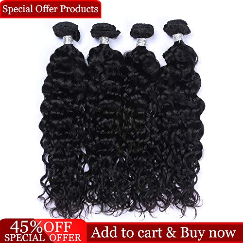 Dingfeng Hair Brazilian Water Wave 4 Bundles Big Sale Wet and Wavy Human Hair Bundles 7A Unprocessed Virgin Brazilian Hair Weave Human Hair Natural Color(12121414) ()