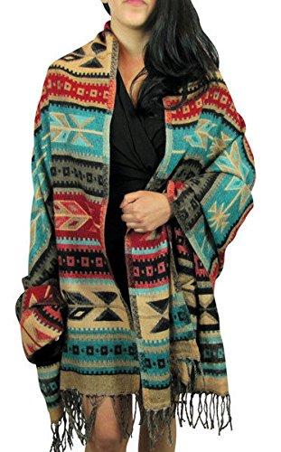 (Sanyork Fair Trade Traditional Shawl Wrap Very Soft Alpaca Wool Designer Throw Winter Warm Scarf)