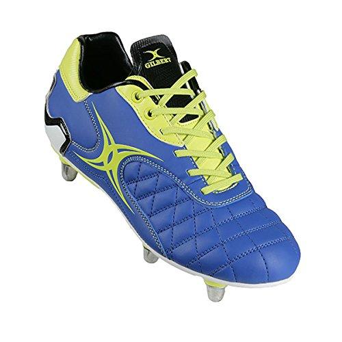 Sidestep Revolution SG Enfants 6 Crampons - Chaussures de Rugby Bleu/Citron Vert - taille 5
