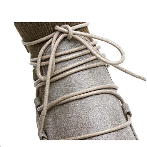 Ei&iLI Printemps des femmes / automne / hiver Bootie / Fashion bottes simili cuir talon plat Casual Lace-up noir / gris , gray , 40